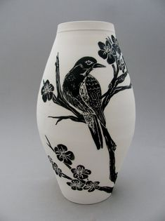 Black and White Hand Painted and Carved Ceramic by LGGCreativeArt, $295.00