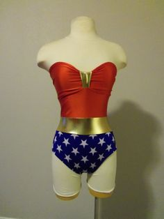 Wonder Woman One Piece Swimsuit...love this but sadly nothing strapless would ever work on me in a pool. $115