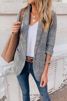 Pretty Winter outfits Outfits 2019 Outfits casual Outfits for moms Outfits for school Outfits for teen girls Outfits for work Outfits with hats Outfits women Summer Work Outfits, Casual Winter Outfits, Spring Outfits, Trendy Outfits, Simple Casual Outfits, Casual School Outfits, Street One Blazer, Nike Mode, Look Blazer