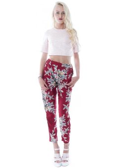 (FLOWER POWER) MOTEL AMAYA CIGARETTE TROUSER IN AUBERGINE #HAKKAFASHION SHOP THESE TROUSERS HERE- http://www.hakkafashion.com/trousers-leggings/319-motel-amaya-cigarette-trouser-in-aubergine.html?search_query=FLORAL&results=48