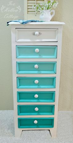 Beginner Friendly Painted Furniture Makeover Ideas and Tips: Aqua Ombre foxhollowcottage.com