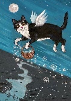 Cat illustration print, artist not known.