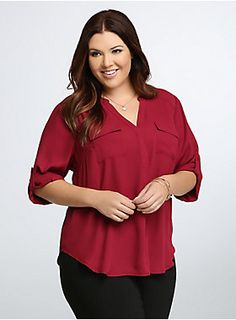"""<p>Your weekday morning rush just got that much easier. This rich beet red georgette (more opaque than chiffon) blouse is easy to throw on (and hard to take off). 3/4 tab sleeves, a Mandarin collar and two pockets lend desk-duty polish to the easy look.</p> <p> </p> <p><b>Model is 5'9"""", size 1</b></p> <ul> <li>Size 1 measures 30"""" from shoulder</li> <li>Polyester</li> <li>Wash cold, dry low</li> <li>Imported plus size blouse</li> </ul>"""