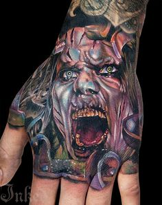 Horror hand piece by Cecil Porter #InkedMagazine #handtattoo #horror #portrait #inked #ink