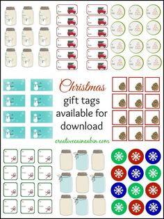 Christmas Gift Tag's Available for Download and Print. Lot's to Choose From. Something To Fit Every Gift Giving Need. creativecaincabin.com
