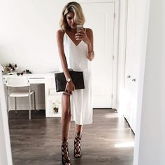 White dress and black lace up heels / perfect for a date
