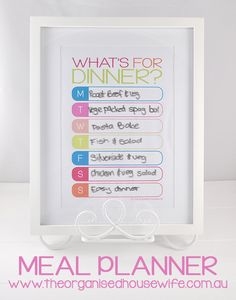 Gorgeous way to display a meal plan