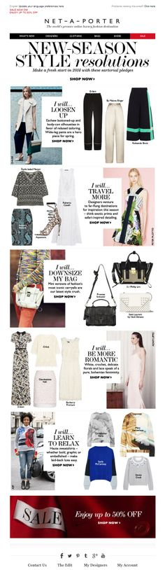 #newsletter Net-a-porter 01.2013  Fashion resolutions for a stylish new year, plus shop the sale