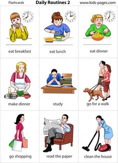 Lots of picture flashcards for nouns, verbs, routines etc. Learning English For Kids, Kids English, English Language Learning, English Study, Teaching English, English Verbs, Learn English Grammar, Learn English Words, English Lessons