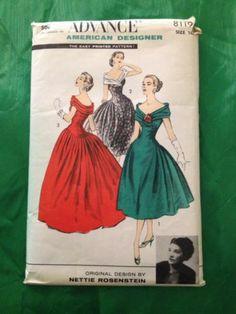 1950s Vintage Sewing Pattern Nettie Rosenstein Cocktail Dress Shoulder Drape | eBay
