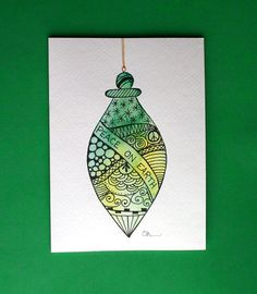 Watercolor card, ( No.212), Christmas ornament, greeting card, Christmas, ornament, holiday, original art,blank inside