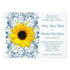 Sunflower Navy Blue Floral Wedding Invitation