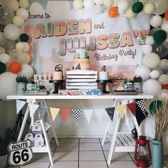 This Cars (Disney movie) Radiator Springs Birthday Party is fab! Love the dessert table! See more party ideas and share Cars Birthday Parties, Diy Birthday, Birthday Ideas, Car Cakes For Boys, Dessert Table Backdrop, Dessert Tables, Easy Party Decorations, Diy Party, Party Ideas
