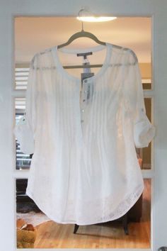 Stitch Fix - I've been looking for a shirt like this for a while, would definitely love to receive this. Sheer White Blouse, Sheer Tops, Sheer Shirt, Stitch Fit, White Shirts, Henleys, Pin Tucks, White Tops, Stitch Fix Outfits