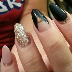 Nude, black, gold glitter, almond, stiletto, acrylic nails