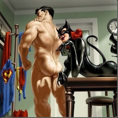 Superman and catwoman.