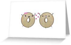 Cute Bagel Card, All You Knead Is Love, funny food, pun, cute, cute card, valentine, bagel drawing, kawaii,