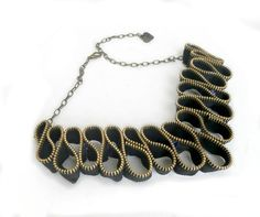 Zipper necklace  vintage zippers  metal chain gold by ZipperDesign, $42.50