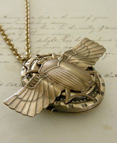 Locket Art Deco Scarab Vintage Necklace by chloesvintagejewelry, $48.00
