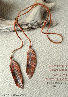 Leather Feather Lariat Necklace, painted leather feather, make a lariat, suede lariat, Free People Hack, leather feather, easy craft, DIY jewelry, necklace,