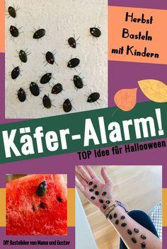 Herbst Basteln mit Kindern: einfache DIY Idee aus Kürbiskernen: Käfer-Alarm. Ein riesen Spaß nicht nur für Halloween. #herbstbasteln #herbstbastelnkinder #halloweenbasteln #käferbasteln #bastelnmitkindern #bastelnkinderherbst #ideenfürdenherbst #herbstmitkindern Halloween Kostüm, Bug Crafts, Bored Kids, Grandma And Grandpa