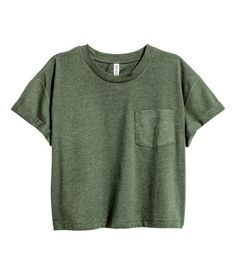 Camiseta corta | Verde jaspeado oscuro | Mujer | H&M PE