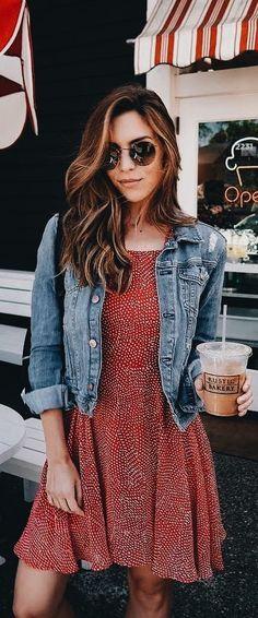 #Summer #Outfits / Red Pattern Print Dress + Denim Jacket