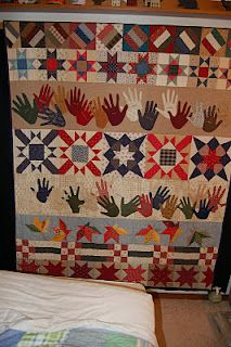 Gather Ye Friends and Family.  UFO started in 2001 - Fowl Event 2 which I did as a row quilt. Handprints of friends and family gathered after 9-11.