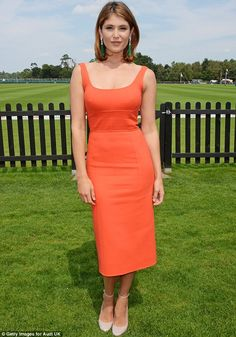 Turning heads: Gemma Arterton looked stunning as she arrived at Audi International's Guards Polo Club in Windsor to support England