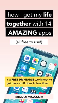 How I got my life together with these 14 amazing free apps | Find free apps for productivity, wellness, and more to help you live your best life. + find a free printable cheat sheet for getting more things done in less time