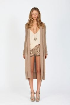 About as hippie as I get, but I love this. Python shorts, loose crop duster cardi.