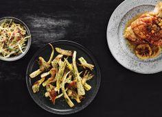 Braiseret svineskank med pastinakker, østershatte og kålsalat