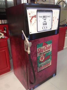 Vintage Gas Pump refrigerator wrap