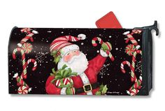 Magnet Works Mailwraps Mailbox Cover - Candy Cane Santa Design Magnetic Mailbox