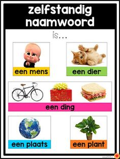 Juf-Stuff: Posters word types - Back to School School Hacks, Learn Dutch, Dutch Language, Montessori Math, School Posters, Home Schooling, Kids Education, Teacher Resources, Dyslexia