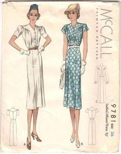 1938 Vintage McCall #9781 Slim Dress 3 Sleeve Styles Pattern Size 36 Complete