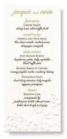 wedding menu on every plate - great idea.