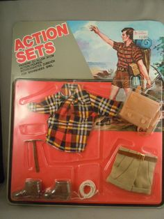 ACTION SETS Knock off Carded 1970's uniform - Mountain Backpacker. Good quality shirt, check out the natty shorts.