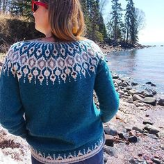 I just love Telja knit in Shelter💙 Seeing people wearing their sweaters has got to be my most favorite part of designing! Icelandic Sweaters, Brooklyn Tweed, Most Favorite, Slow Fashion, Color Combos, Pullover, Wool, Knitting, Crochet