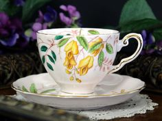 Tuscan Tea Cup and Saucer, Pink Bone China Tea Cup Made in England This beautiful set is in great vintage condition. A super addition to your bone china collection.There are no chips, cracks, crazing
