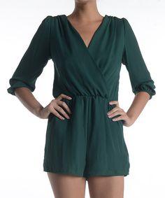 0942088e459 Hunter Green Surplice Romper Casual Elegance