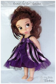 Striped purple and black ball gown and fluffy hair clip for Disney Animators Doll! Visit My Little Wardrobe on etsy now!