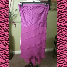FUSHIA STRAPLESS LAYERED DRESS strapless ribbed layered top and sheer ruffled and full of layers with polyester lining. Back line zipper flattering on just in time for spring and summer. Tadashi Shoji Dresses Strapless