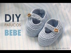 Clases de costura online gratis :D Booties Crochet, Crochet Shoes, Crochet Baby Hats, Baby Knitting Patterns, Knit Baby Shoes, Baby Boots, Knitting Videos, Crochet Videos, Gestrickte Booties