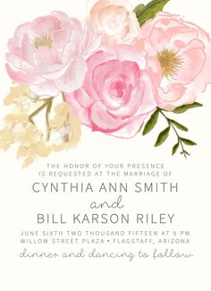 Watercolor Rose Floral Wedding Invitation /// Suite Invitation Set /// Boho Chic /// 2016 Blush Wedding