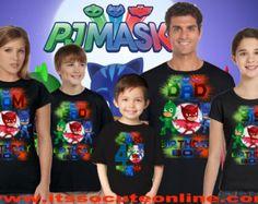 PJ mascarillas cumpleaños camiseta Catboy personalizado edad y
