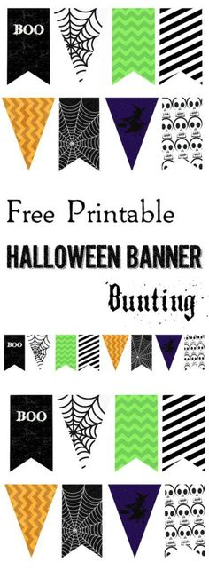 Halloween Banner Bunting Free Printable. Print this Halloween craft to add to your spooky Halloween decor. Spiderwebs, witches, and skeletons.
