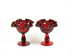 Image detail for -Vintage Red Fenton Glass Compote Bowls Pedestal by BridgewoodPlace