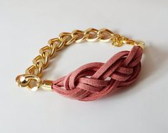 My DIY: Dark Pink Suede Bracelet with Sailor Knot and Gold Color Aluminum Chain by starryday