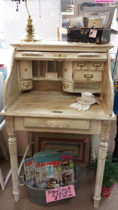 Adorable shabby chic'd and waxed with Annie Sloan wax roll top desk. Several drawers and compartments. Very nice!